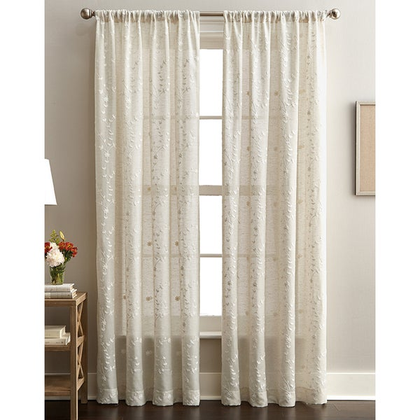 Lynette Floral Embroidered Rod Pocket Curtain Panel. Opens flyout.