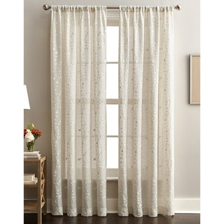 Lynette Floral Embroidered Rod Pocket Curtain Panel