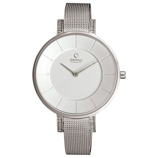 Obaku Women's Silver White Dial Stainless Steel Watch V158LECIMC