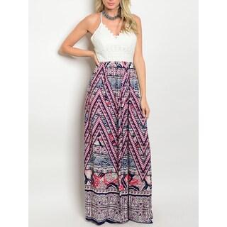 JED Women's Adjustable Strap Geometric Print Maxi Dress
