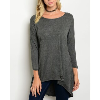 JED Women's Three-Quarter Sleeve Soft Knit Trapeze Tunic Top