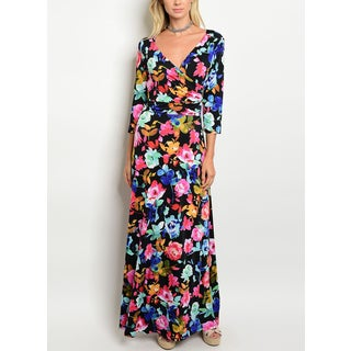 JED Women's Black/ Pink Three-quarter-sleeve Stretchy Fabric Floral Maxi Dress
