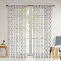 Madison Park Arbor Chainlink Embroidered Sheer Single Curtain Panel