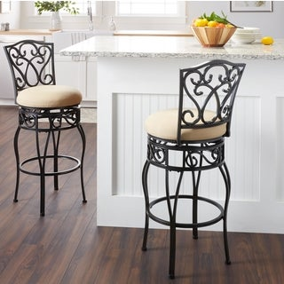 Chase Swivel Dark Tan Linen Bar Stool (set of 2)
