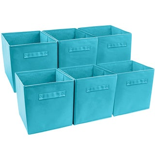 Foldable Storage Cube Basket Bin, 6 Pack, Aqua