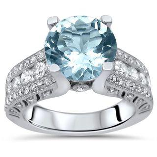 Noori 18k White Gold 3 1/6ct TGW Round-cut Aquamarine Diamond Engagement Ring (G-H, SI2-I1) - Blue