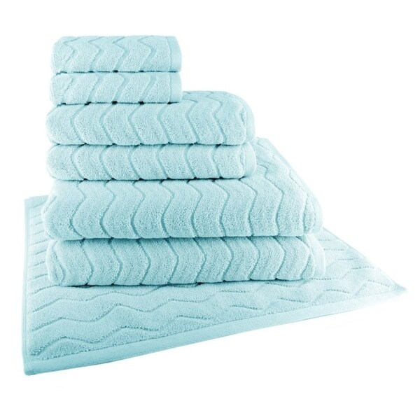 Chevron 7-Piece Towel Set (2-Bath, 2-Hand, 2-Wash and 1 Tub Mat)