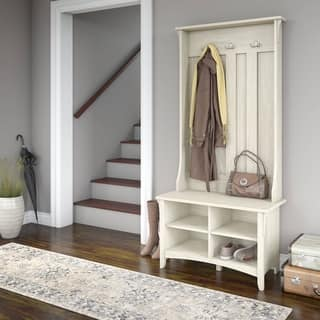 Salinas Hall Tree with Storage Bench in Antique White. Home Office Furniture For Less   Overstock com