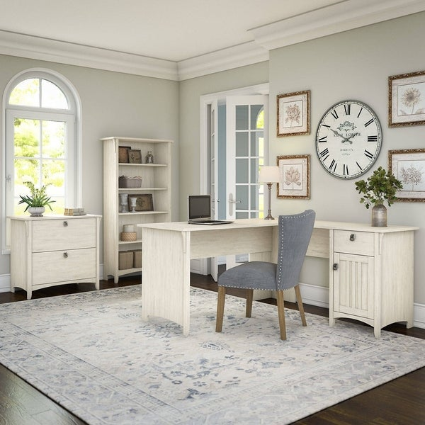 Salinas 60W L Shaped Desk with Lateral File Cabinet and 5 Shelf ...