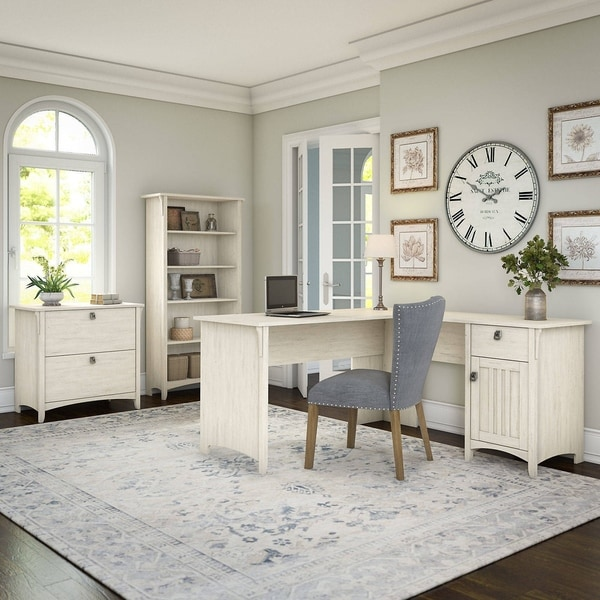Maison Rouge Lucius Antique White L-shaped Desk with Lateral File Cabinet and 5-shelf Bookcase