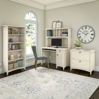 Salinas Mission Desk with Hutch, Lateral File Cabinet and 5 Shelf Bookcase in Antique White