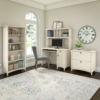 Maison Rouge Lucius Mission Desk with Hutch, Lateral File Cabinet and 5 Shelf Bookcase in Antique White