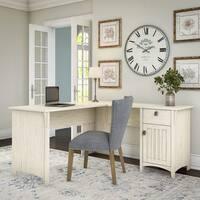 Maison Rouge Lucius Antique White L-shaped Storage Desk