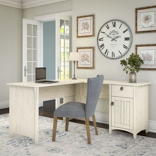 Salinas L Shaped Desk with Storage in Antique White