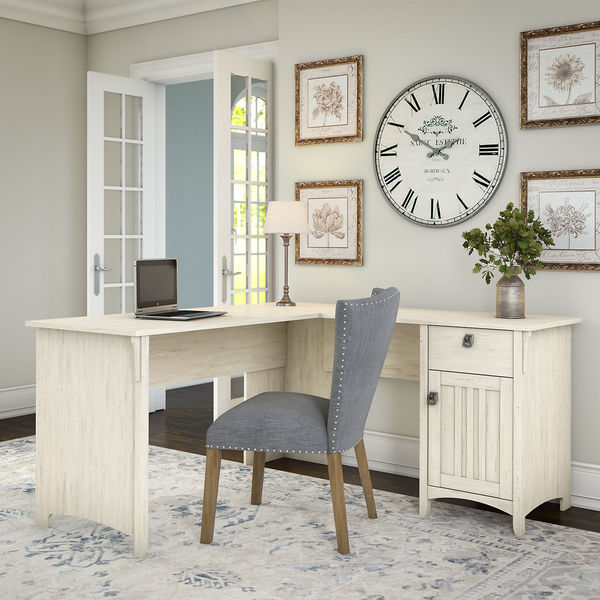 Salinas L Shaped Desk with Storage in Antique White - Salinas L Shaped Desk With Storage In Antique White - Free
