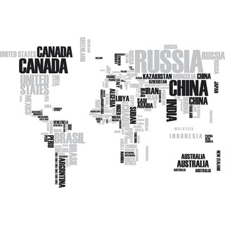 Textual World Map Wall Decals