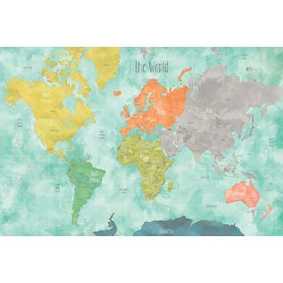Aquarelle World Map Decal