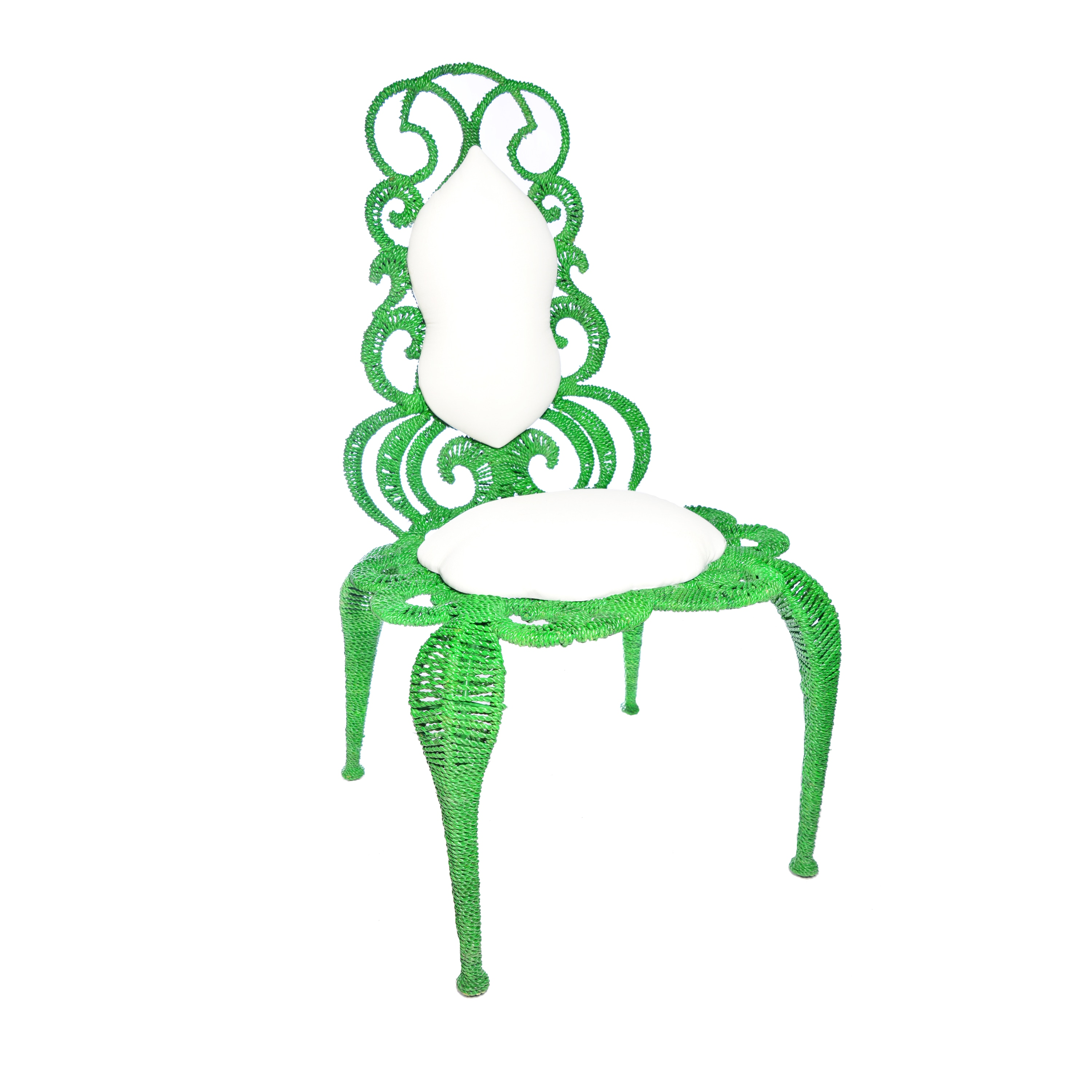 Alice Wrought Iron Chair (Flower Chair Green), Size Singl...