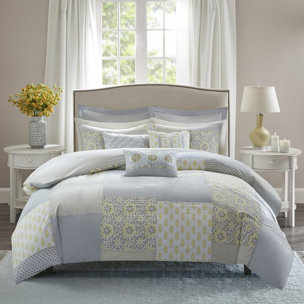 Madison Park Cosette Grey and Yellow 9 Piece Cotton Percale Duvet Cover Set