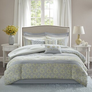 Madison Park Cosette Grey and Yellow 9 Piece Cotton Percale Comforter Set