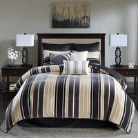 Bombay McCord Black/ Taupe Chenille Jacquard Comforter Set