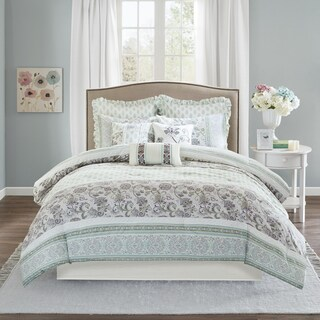 Madison Park Paolina Purple 9 Piece Cotton Percale Comforter Set (3 options available)