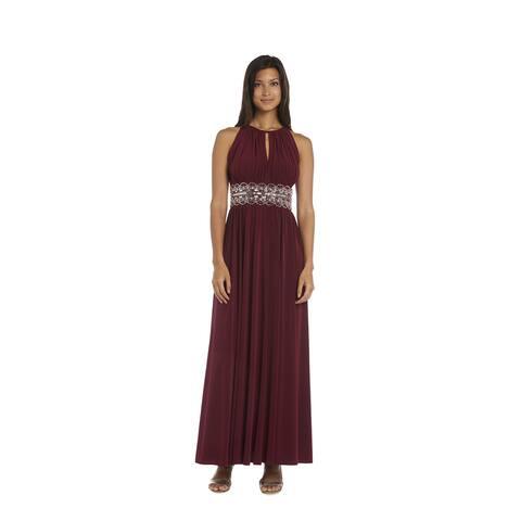 R&M Richards Beaded Merlot Evening Gown