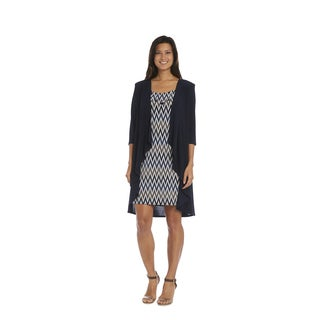 R&M Richards Navy and Taupe Print Jacket Dress