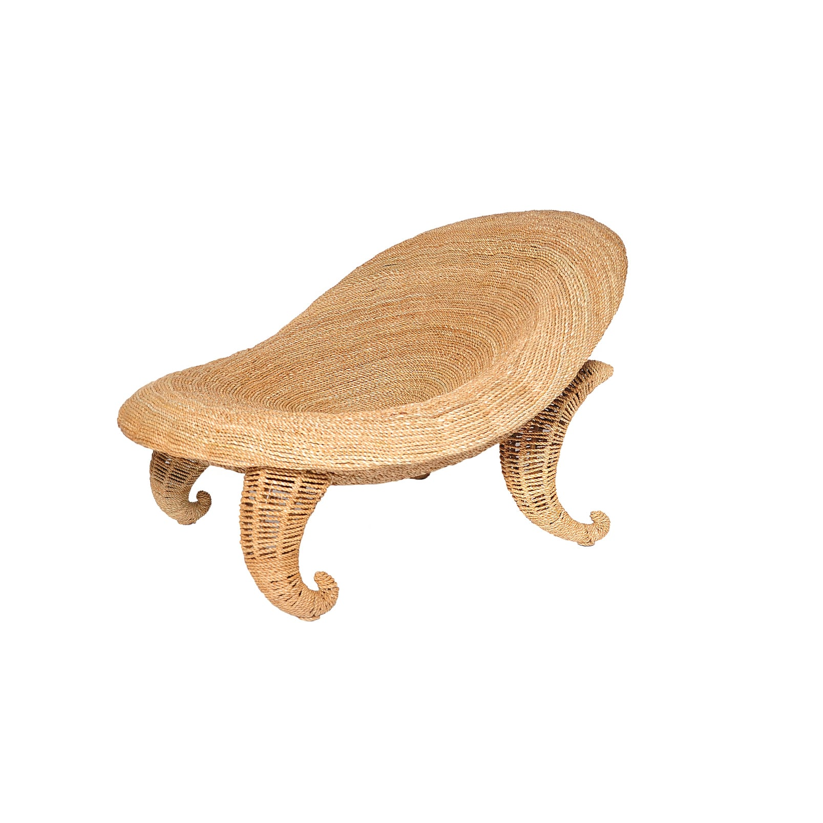 Ariel Wrought Iron and Jute Chair (Shell Chair), Beige, S...