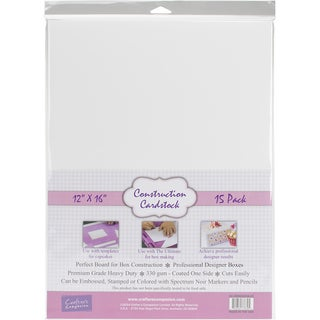 """Crafter's Companion Construction Cardstock 12""""X16"""" 15/Pkg-White"""