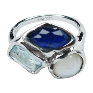 Blue and White Multi-Stone Ring - Size 6