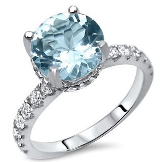Noori 18k White Gold 2 1/6ct TGW Round Aquamarine Diamond Engagement Ring (G-H, SI1-SI2) - Blue