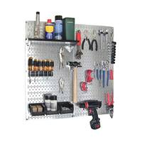 Wall Control Metal Pegboard Utility Tool Storage Kit - Galvanized Steel Pegboard