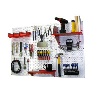 Wall Control 4ft Metal Pegboard Standard Tool Storage Kit - White Toolboard