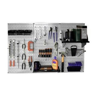 Wall Control 4 feet Metal Pegboard Standard Tool Storage Kit - Grey Toolboard