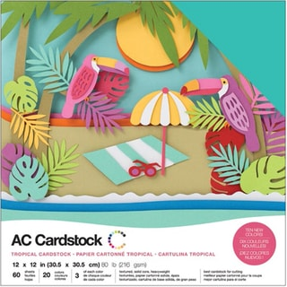 """American Crafts Variety Cardstock Pack 12""""X12"""" 60/Pkg-Tropical"""