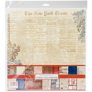 """ScrapBerry's Words Live Forever Paper Pack 12""""X12"""" 18/Pkg-9 Double-Sided Designs/2 Each"""