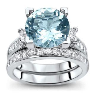 Noori 14k White Gold 4 3/4ct TGW Round-cut Aquamarine Diamond Engagement Ring Bridal Set (G-H, SI1-SI2)