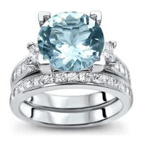 Noori 14k White Gold 4 3/4ct TGW Round-cut Aquamarine Diamond Engagement Ring Bridal Set (G-H, SI1-SI2) - Blue