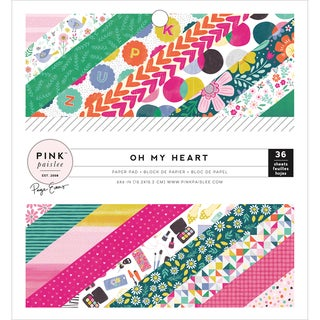 """Pink Paislee Single-Sided Paper Pad 6""""X6"""" 36/Pkg-Paige Evans Oh My Heart W/36 Designs"""