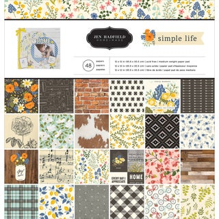 "Pebbles Single-Sided Paper Pad 12""X12"" 48/Pkg-Jen Hadfield Simple Life"