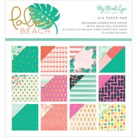 """My Mind's Eye Double-Sided Paper Pad 6""""X6"""" 24/Pkg-Palm Beach W/Gold Foil, 12 Designs"""