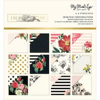 """My Mind's Eye Double-Sided Paper Pad 6""""X6"""" 24/Pkg-In Bloom W/Gold Foil, 12 Designs"""