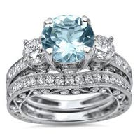 Noori 18k White Gold 3 ct TGW Round-cut Aquamarine Diamond Engagement Ring Bridal Set 3 Stone (G-H, SI1-SI2) - Blue