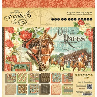 "Graphic 45 Double-Sided Paper Pad 12""X12"" 24/Pkg-Off To The Races, 12 Designs/2 Each"