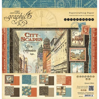 "Graphic 45 Double-Sided Paper Pad 12""X12"" 24/Pkg-Cityscapes, 8 Designs/3 Each"