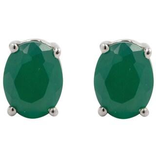 Sterling Silver Green Onyx Oval Stud Earrings