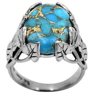 Sterling Silver Ornate Leaf with Blue Copper Turquoise Ring