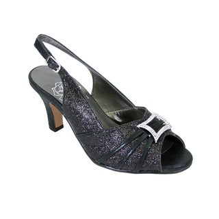FIC FLORAL Nadine Women Extra Wide Width Peep Toe Dress Slingback With Jewels