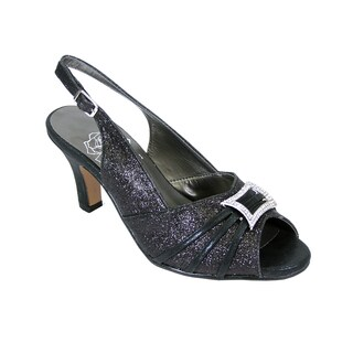 FIC FLORAL Nadine Women Extra Wide Width Peep Toe Dress Slingback With Jewels (More options available)
